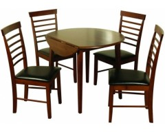 Hampton Solid Hardwood Dropleaf Dark Round Dining Set (4 Chairs)