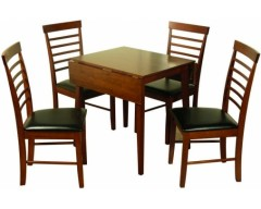 Hampton Solid Hardwood Dropleaf Dark Square Dining Set (4 Chairs)