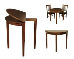 Hampton Solid Hardwood Halfmoon Dining Set (Dark)
