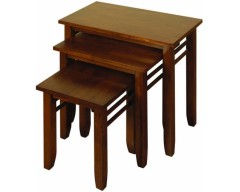 Hampton Solid Hardwood Dark Nest Of Tables