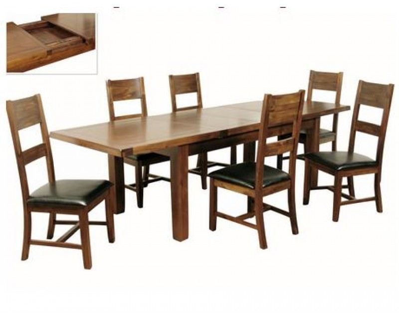 Rushton Acacia Wood Large Extending Dining Set