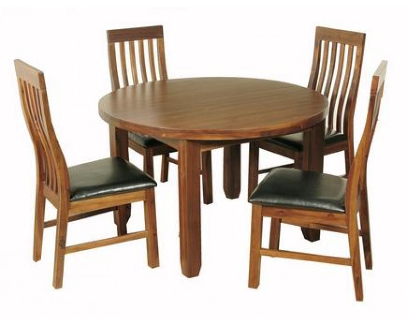 Rushton Acacia Wood Round Dining Set with Slat Back Chairs
