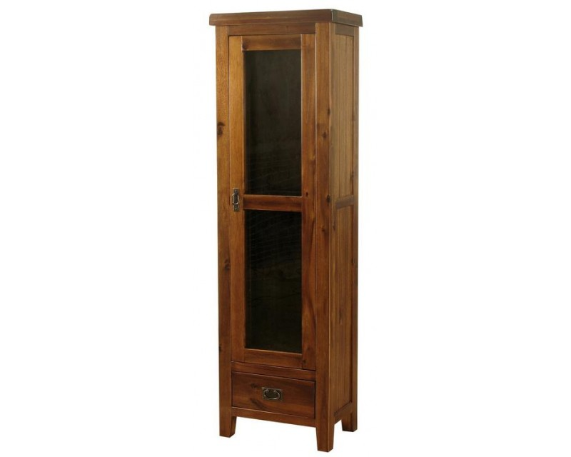 Rushton Acacia Wood 1 Door Display Cabinet