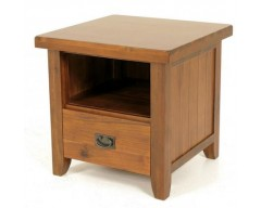 Rushton Acacia Wood Lamp Table with Drawers