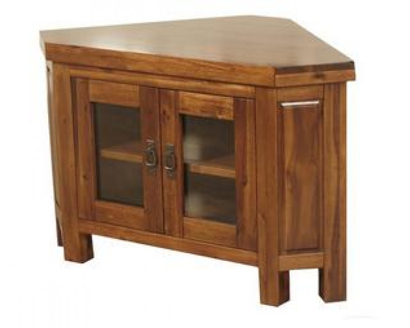 Rushton Acacia Wood Corner TV Unit with Glass Door