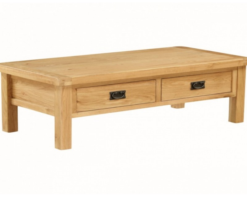 Sussex Oak Large Coffee Table With Drawer