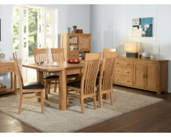 Tamworth Solid Oak / Oak Veneer 4' extension dining set (Extended) - Standard