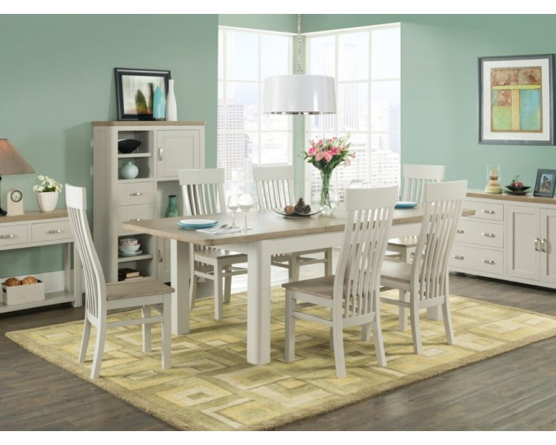 Tamworth Solid Oak / Oak Veneer 4' extension dining set (Extended) - Painted