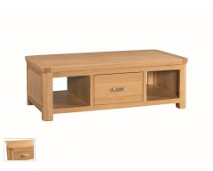 Tamworth Solid Oak / Oak Veneer Large Coffee Table with Drawer - Standard