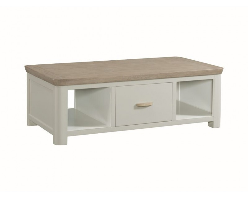 Tamworth Solid Oak / Oak Veneer Large Coffee Table with Drawer - Painted