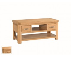 Tamworth Solid Oak / Oak Veneer Standard Coffee Table with Drawer - Standard