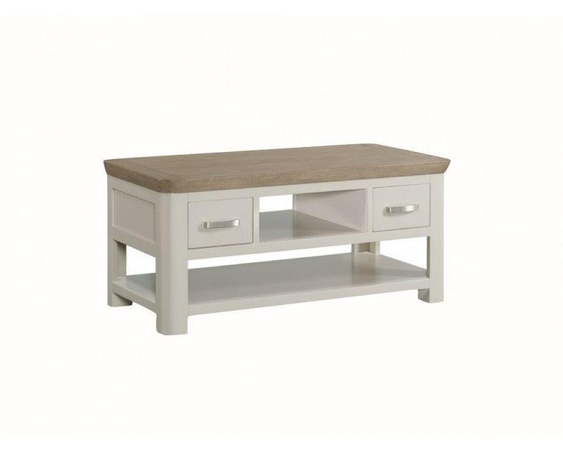 Tamworth Solid Oak / Oak Veneer Standard Coffee Table with Drawer - Painted