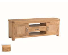 Tamworth Solid Oak / Oak Veneer Wide TV Unit - Standard