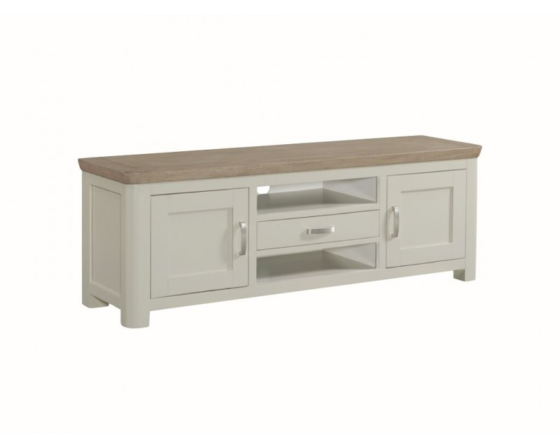 Tamworth Solid Oak / Oak Veneer Wide TV Unit - Painted