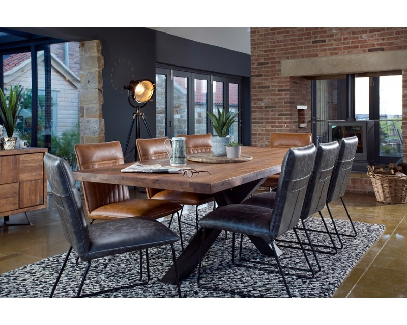 Saka 2m Oak Dining Table with Steel Base