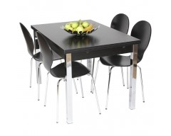 Dante Extending Dining Set (4 Chairs) 120cm ext to 187cm Black Ash