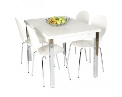Dante Extending Dining Set (4 Chairs) 120cm ext to 187cm White
