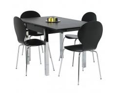 Dante Extending Dining Set (4 Chairs)  80cm ext to 147cm Black Ash