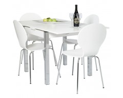 Dante Extending Dining Set (4 Chairs) 80cm ext to 147cm White