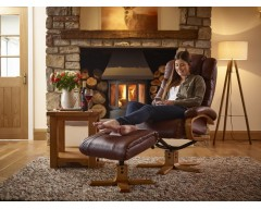 Clinton Leather Swivel Recliner Chair - Available in Taupe and Chestnut