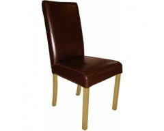 Marianna Leather Dining Chair in Brown