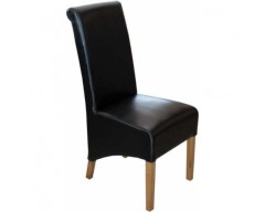 Rosie Leather Dining Chair in Black