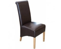 Rosie Leather Dining Chair in Brown