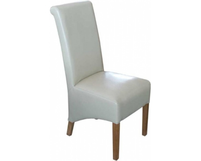 Rosie Leather Dining Chair in Ivory