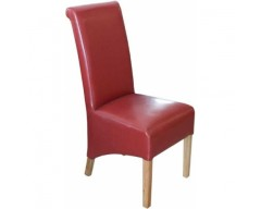 Rosie Leather Dining Chair in Red