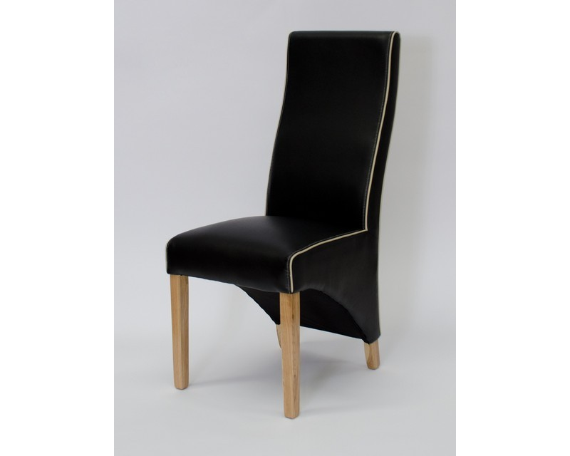 Whistler Leather Dining Chair in Noir/Bone