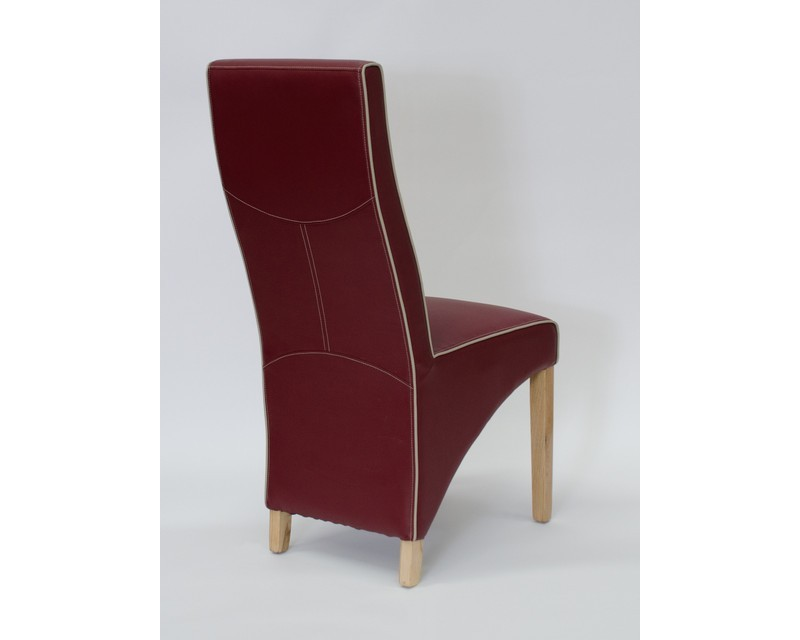 Whistler Leather Dining Chair in Ruby/Bone