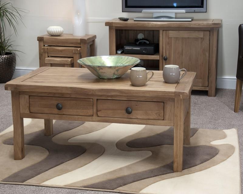 Chicago Oak Coffee Table with Drawers