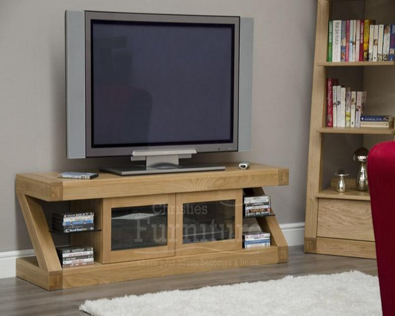 New York Solid Oak TV Plasma Glazed Unit