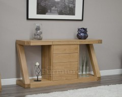 New York Solid Oak Console Table with Drawers