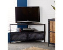 Alpina Industrial Corner TV Unit - Wooden/Metal