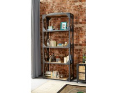 Alpina Industrial Large Bookcase - Wooden/Metal