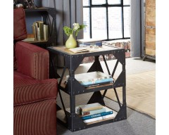 Alpina Industrial Side Table/Multimedia Cabinet - Wooden/Metal