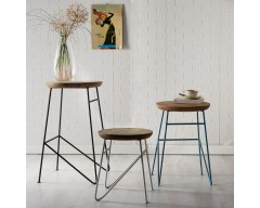 Amber Iron/Wooden - Round Set of 3 Stools