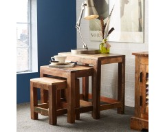 Cranbrooke Reclaimed Wood Nest of Stools