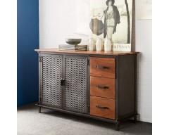 Enfield Jali 3 Drawer Sideboard - Wooden/Iron