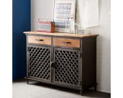 Enfield Jali 2 Large Door Sideboard - Wooden/Iron