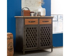 Enfield Jali 2 Door Small Sideboard - Wooden/Iron