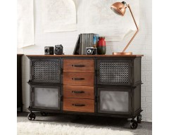 Enfield Jali 4 Drawer Sideboard - Wooden/Iron