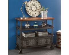 Enfield Jali Console Table with Wheels - Wooden/Iron