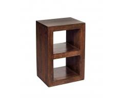 Tanda Mango (Dark) Solid Hardwood 2 Hole Cube Table