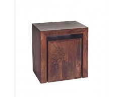Tanda Mango (Dark) Solid Hardwood Cubed Nest of 2 Tables