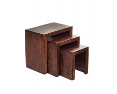 Tanda Mango (Dark) Solid Hardwood Nest of 3 Tables