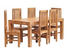 Tanda Mango (Light) Solid Hardwood Dining Set (6ft/180cm) with Wooden Chairs