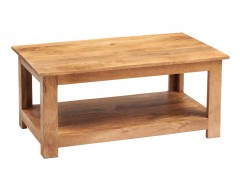 Tanda Mango (Light) Solid Hardwood Coffee Table with Shelf