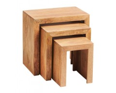 Tanda Mango (Light) Solid Hardwood Nest of 3 Tables